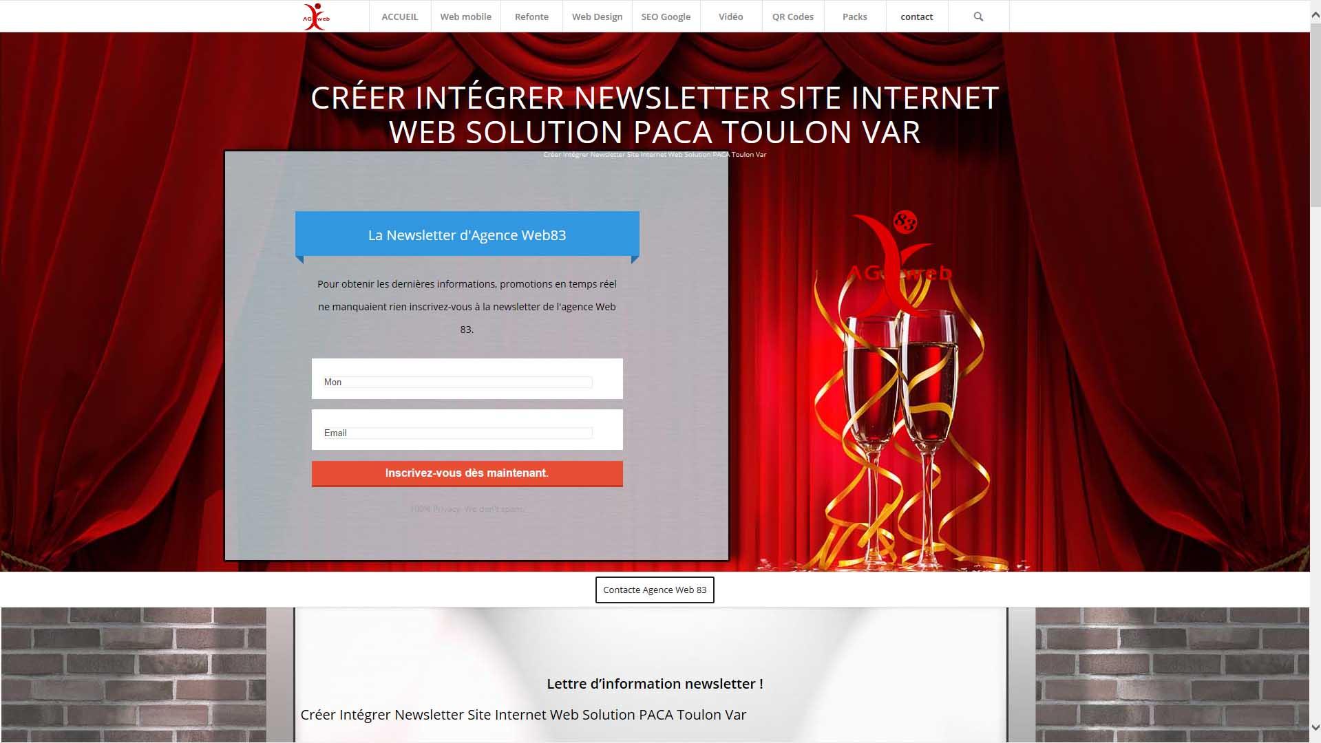 Créer Intégrer Newsletter Site Internet Web Solution PACA Toulon Var